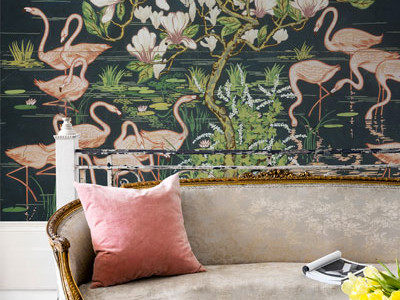 'Flamingoes' wallpaper Mural featured in Big Brother