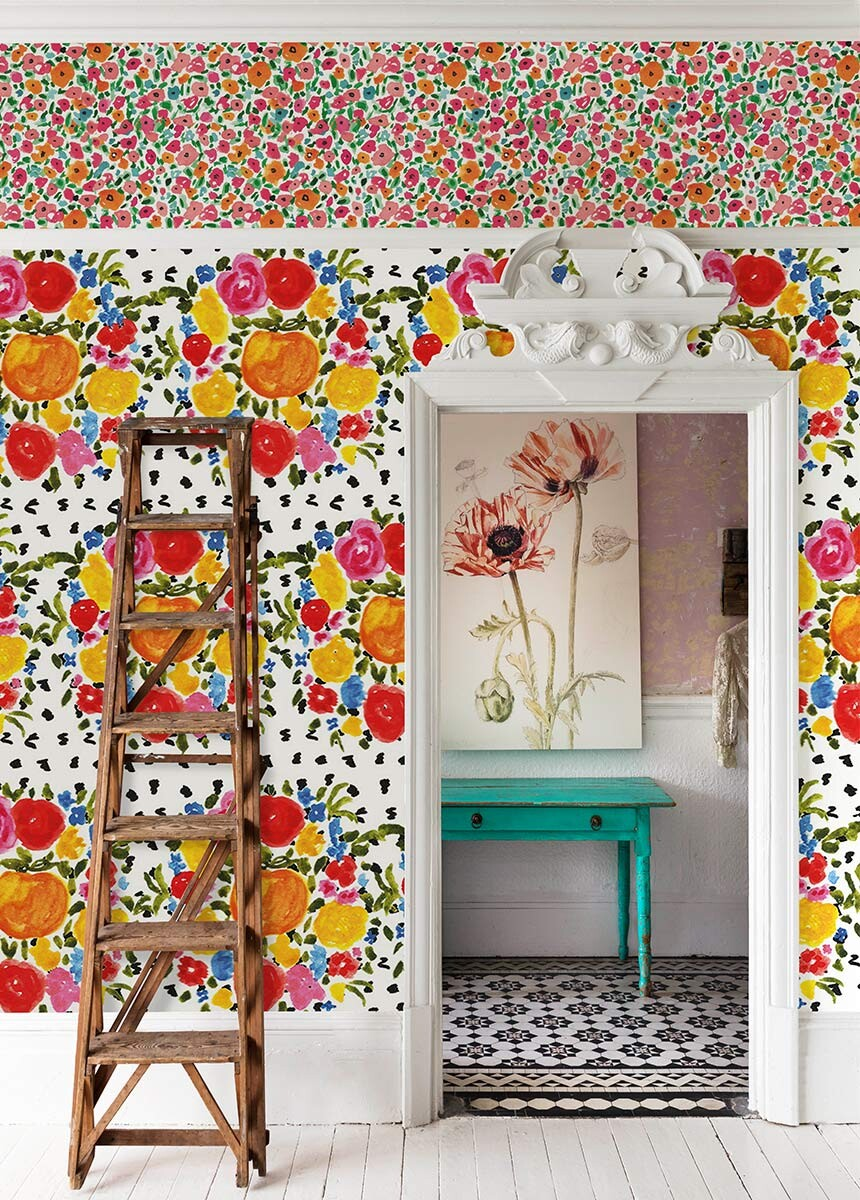 'Orange and Flowers' Wallpaper Mural