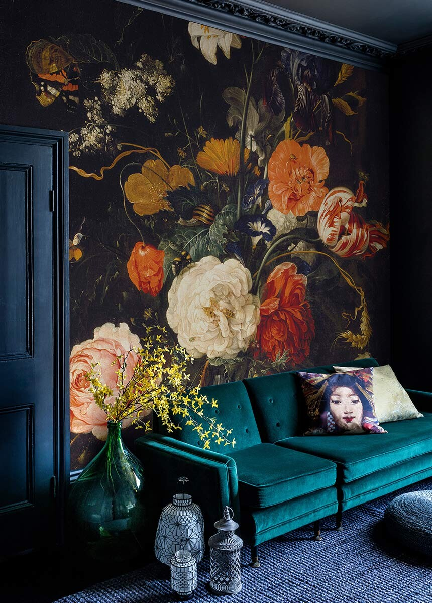 Floral Bouquet Painting Wallpaper Mural Surface View