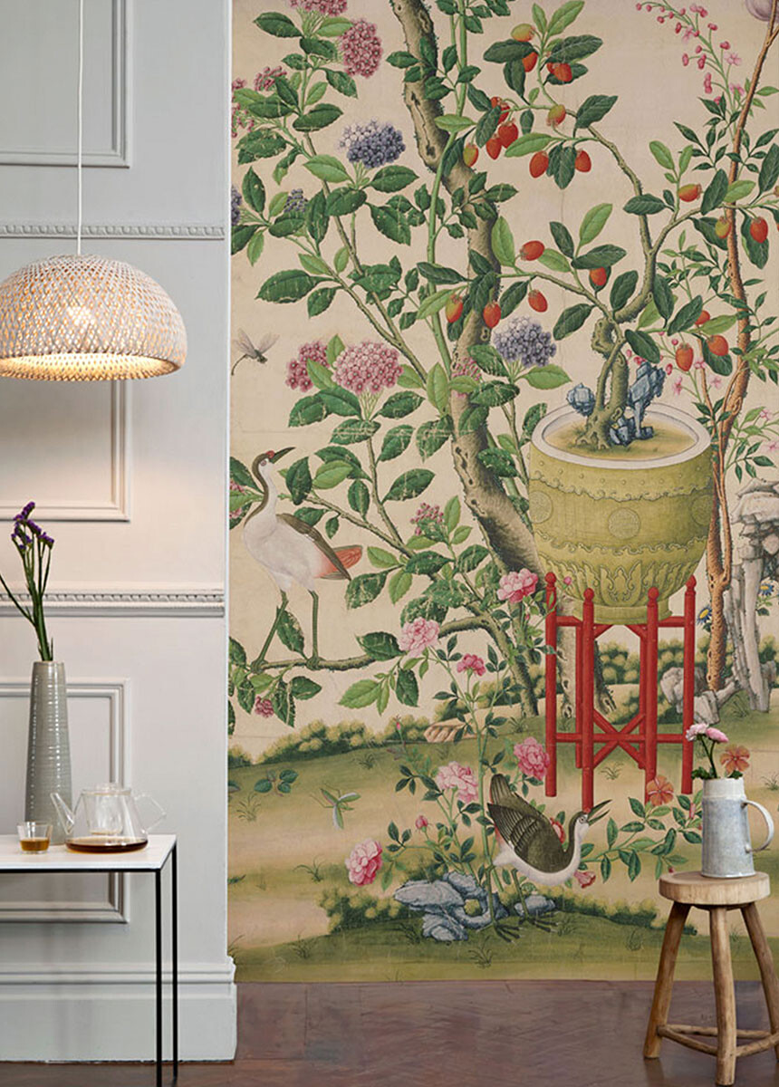 'Flower vase on stool with flowering tree' Wallpaper Mural