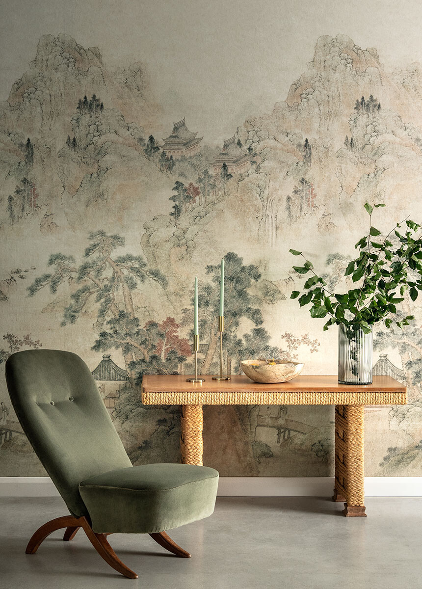 'Ming Mountain Scenic Linen' Wallpaper murals