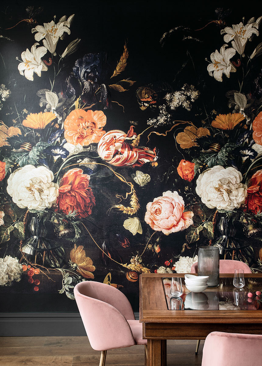 'De Heem Floral Bouquet Scenic Midnight' Wallpaper murals