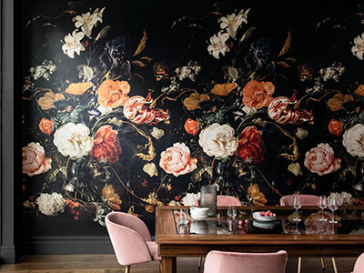 De Heem Floral Bouquet Scenic Midnight Mural Wallpaper