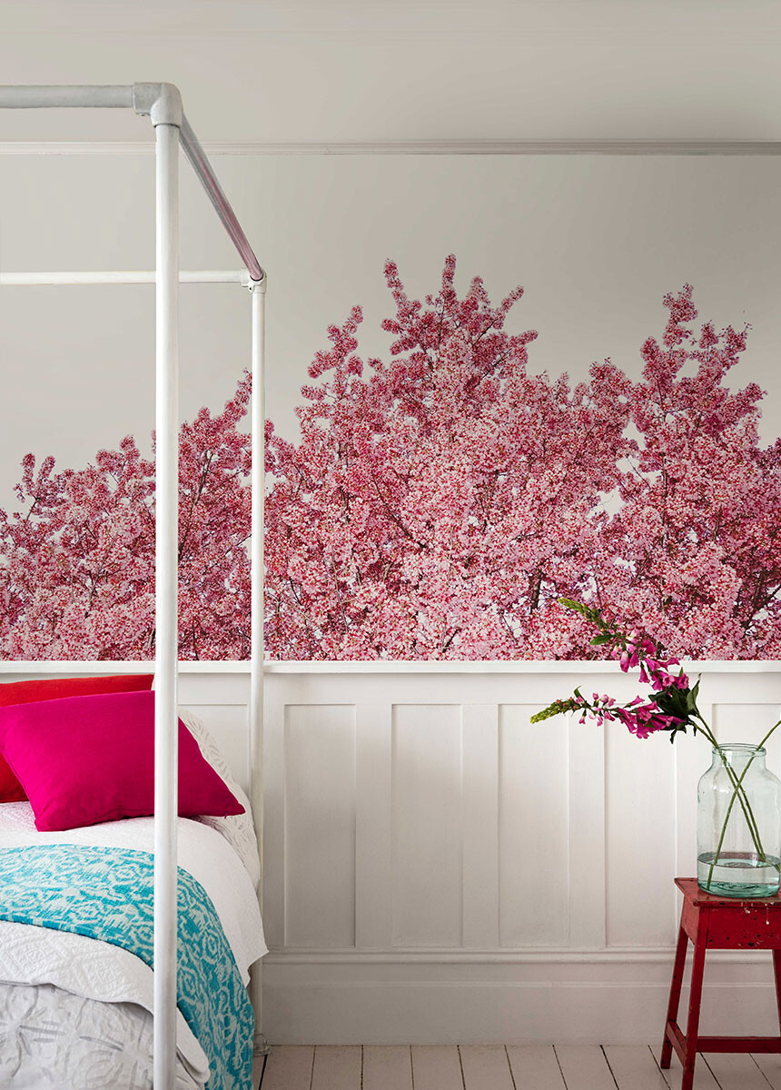 'Cherry Reaching Tops' Wallpaper Mural