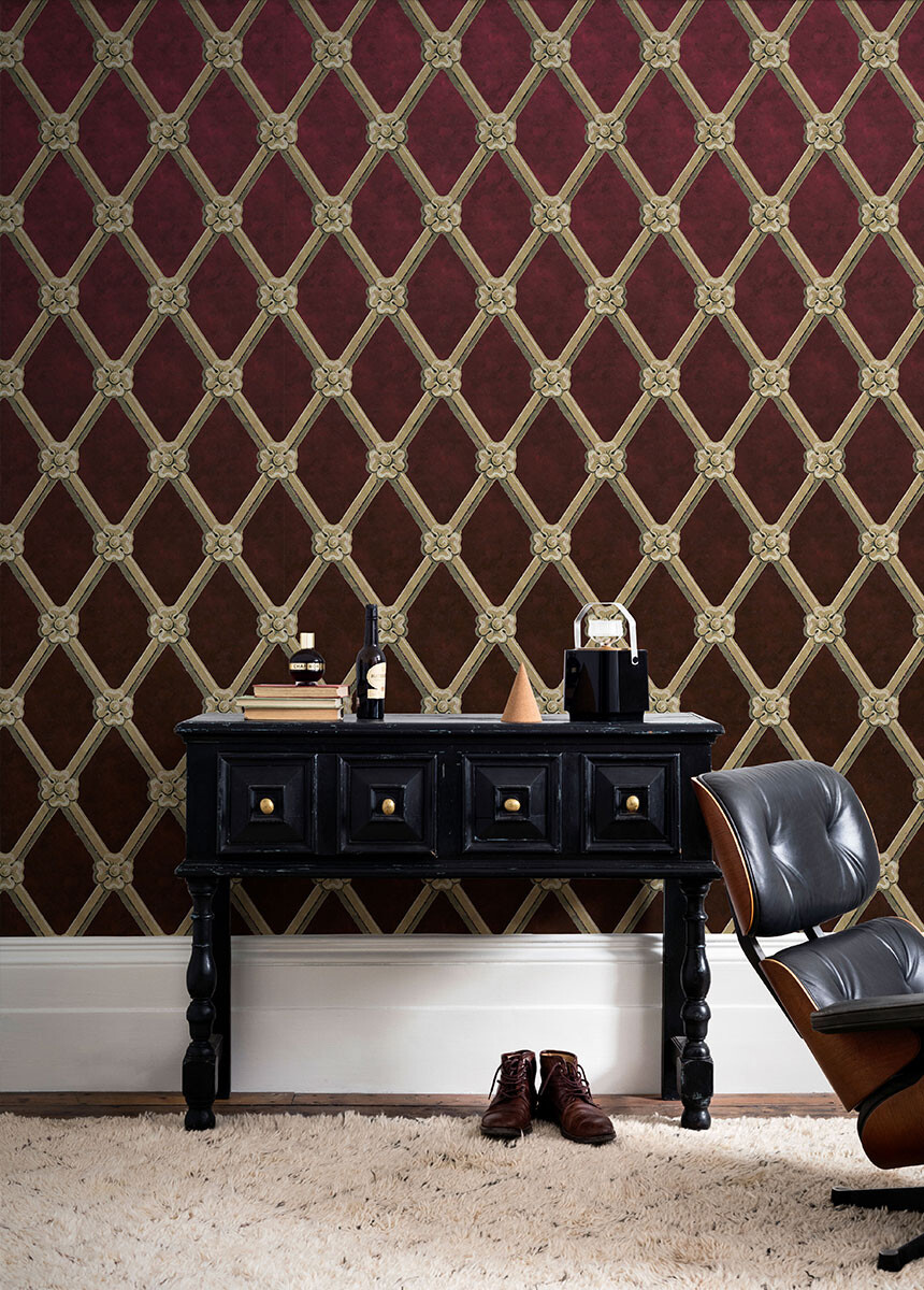 'Uppark Trellis Bordeaux Red' Wallpaper murals
