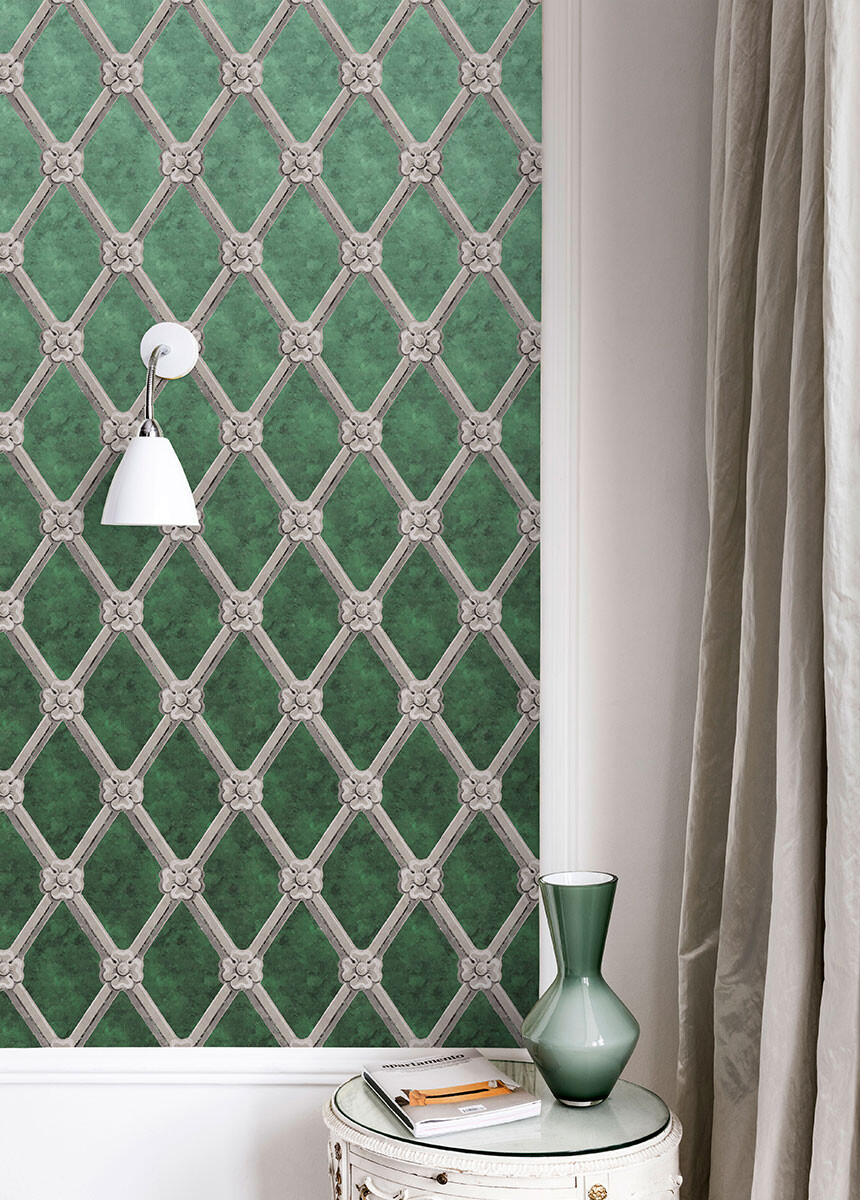 'Uppark Trellis Forest Green' Wallpaper murals