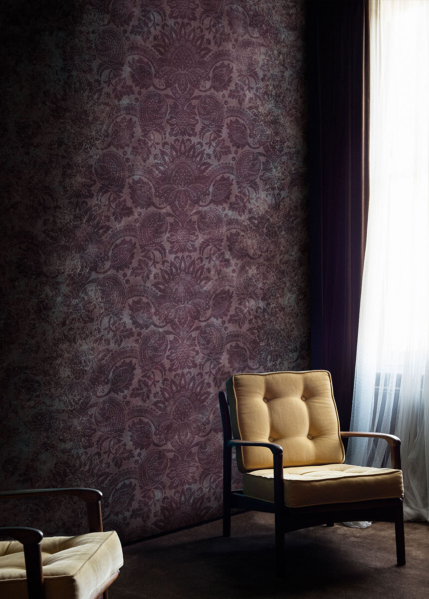 'Lydiard Damask Tyrian Purple' Wallpaper murals