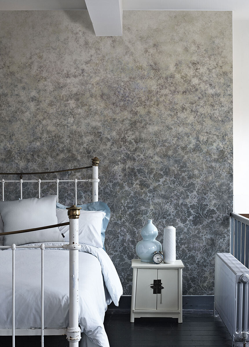 'Cranford Damask Petrol Blue' Wallpaper murals