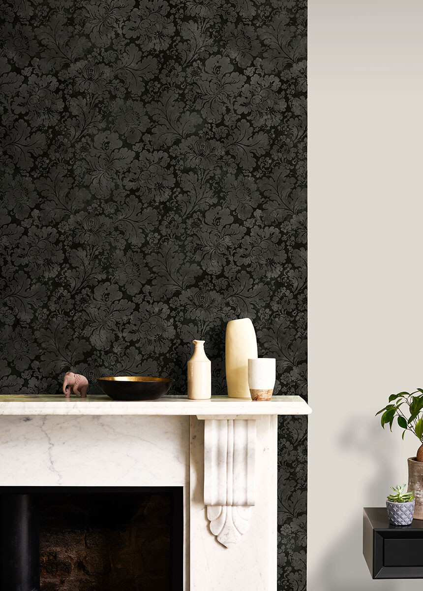 'Cranford Damask Onyx Black' Wallpaper murals