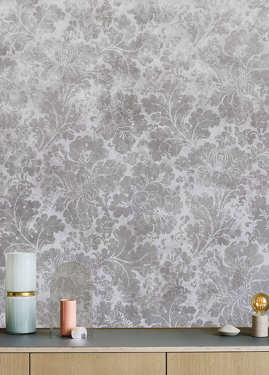 'Cranford Damask Dove Grey' Wallpaper murals