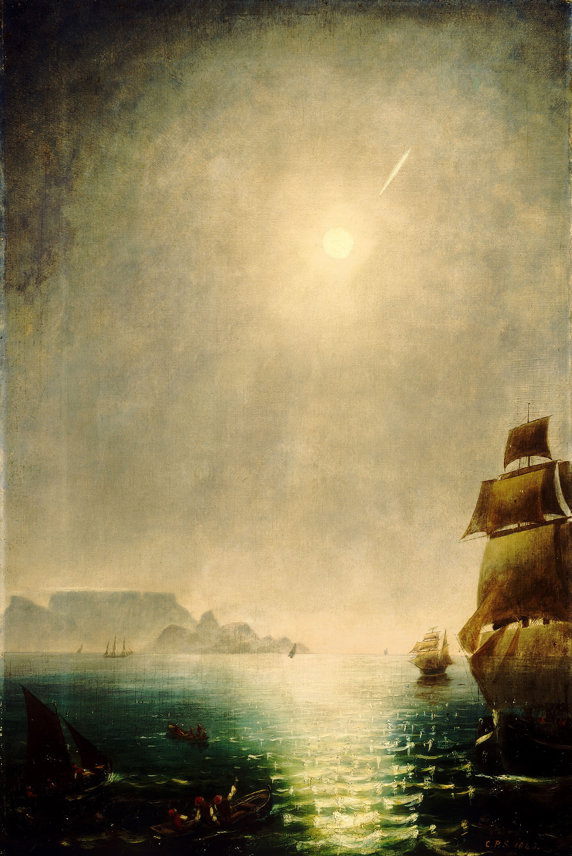 Moonlight View Over Table Bay Showing the Great Comet of 1843