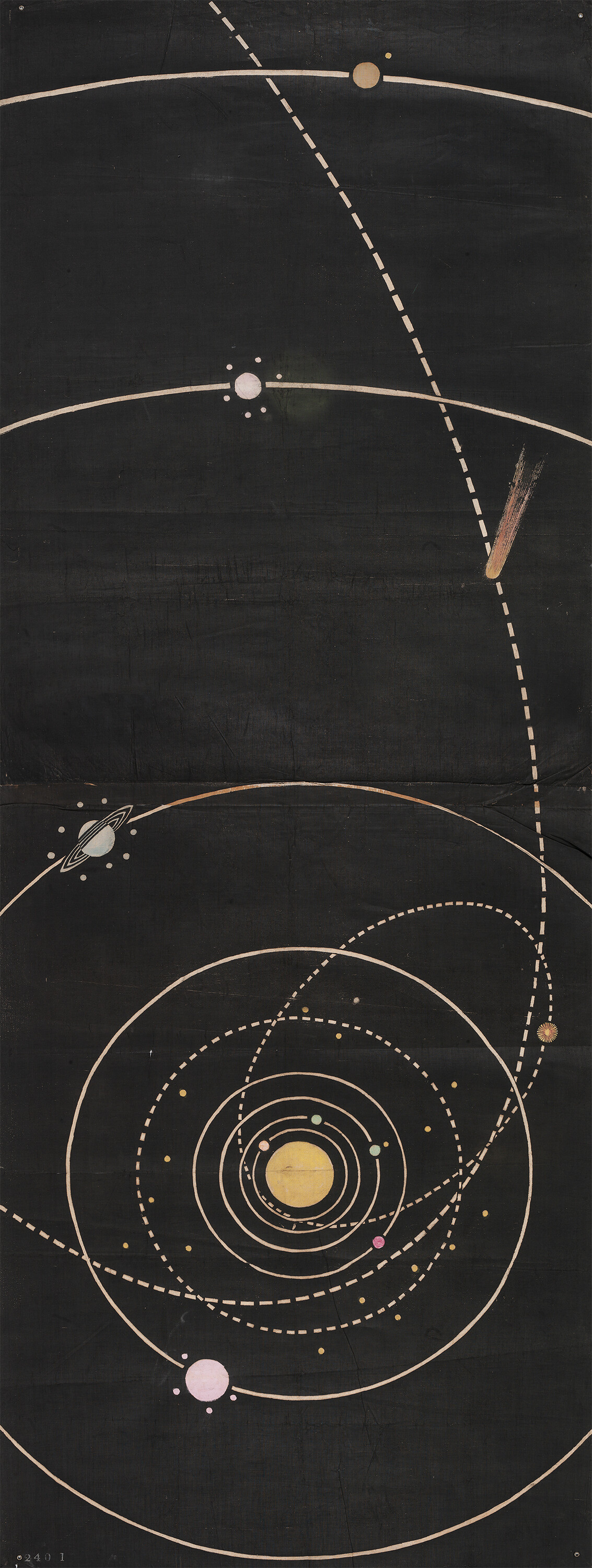 Print of an original wall hanging, showing the Solar System, c.1850-1860
