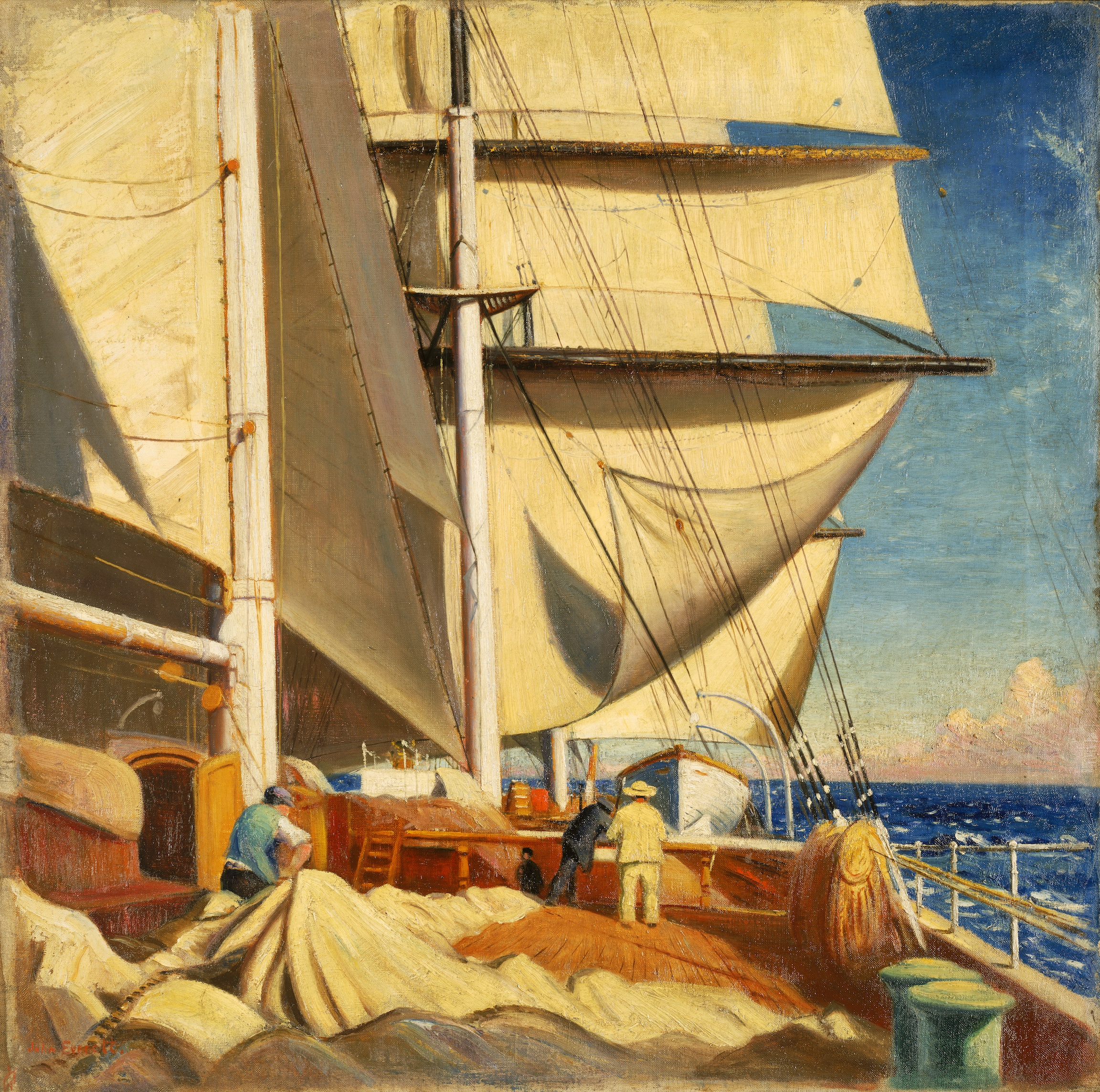Mending Sails On The Deck Of The 'Birkdale'†