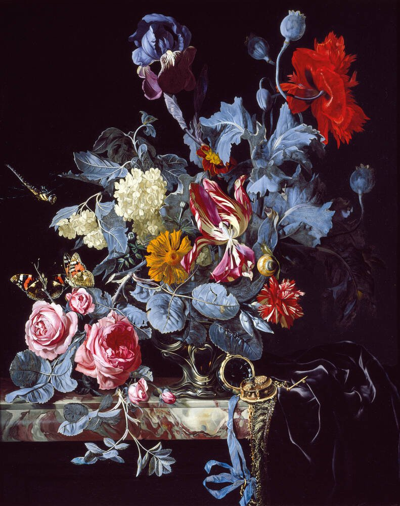A Vase of Flowers with a Watch