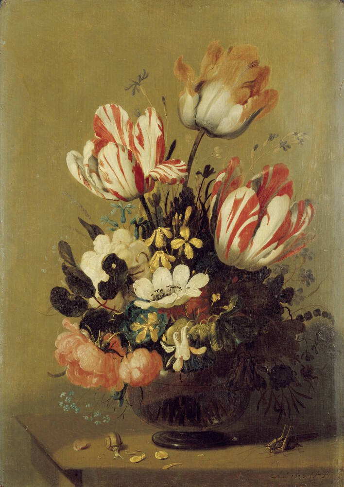 A Vase of Flowers with Snails and Shells