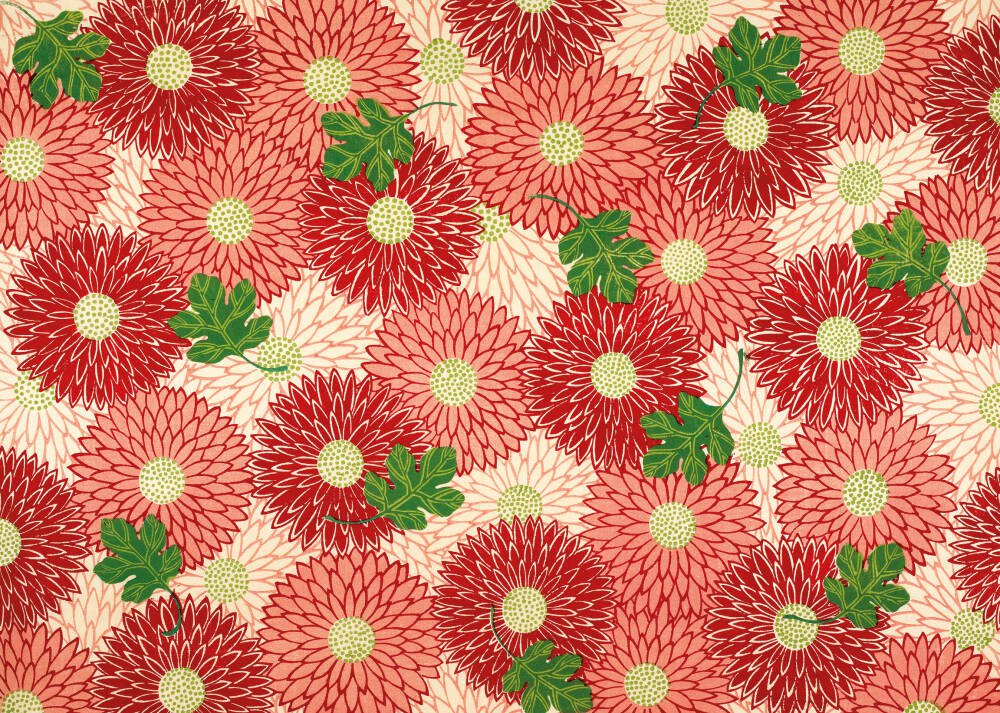 Red floral & green foliage