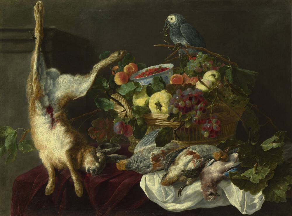 A Still Life with Fruit, Dead Game and a Parrot