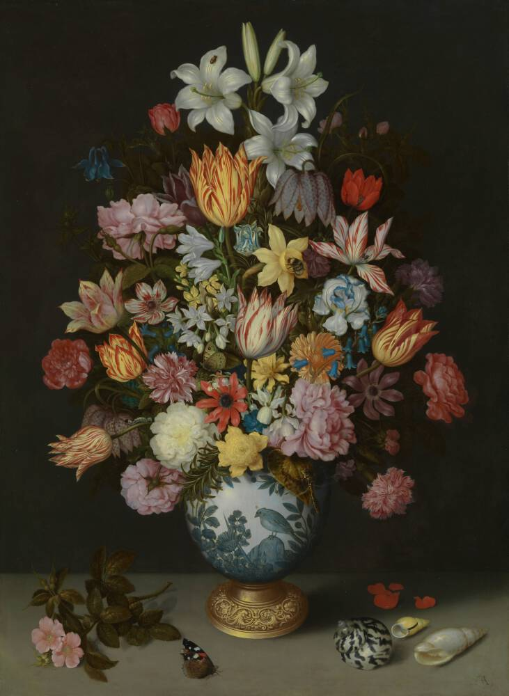 A Still Life of Flowers in a Wan-Li Vase