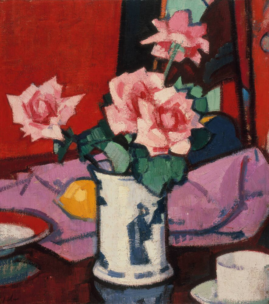 Pink Roses, Chinese Vase