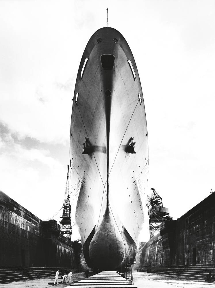 Canberra in King George V dry-dock, Southampton