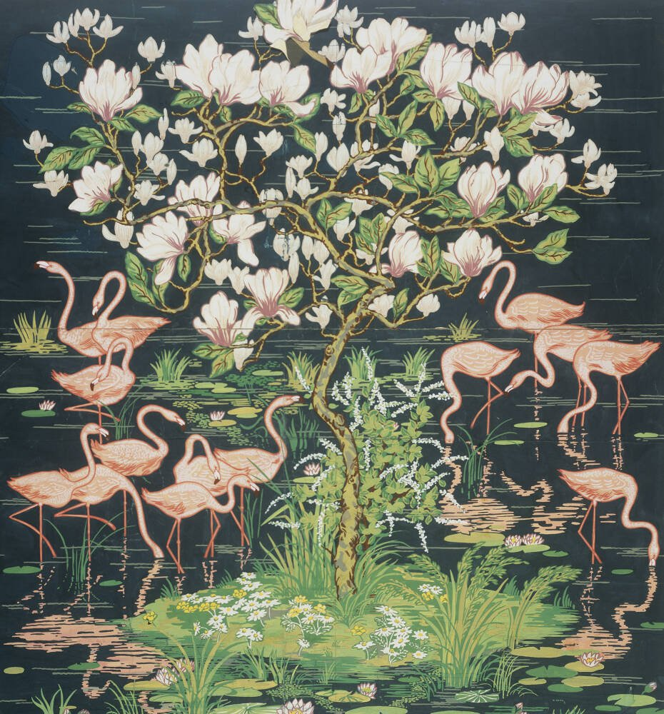Flamingoes and Magnolia Panel