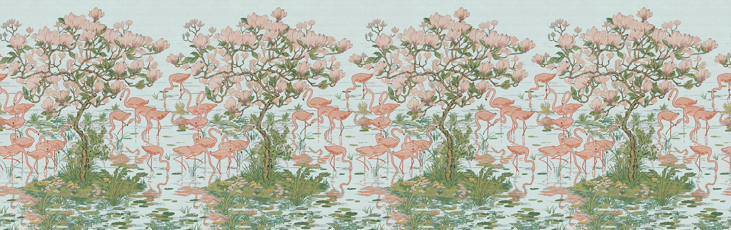 Flamingoes and Magnolia Scenic Aqua