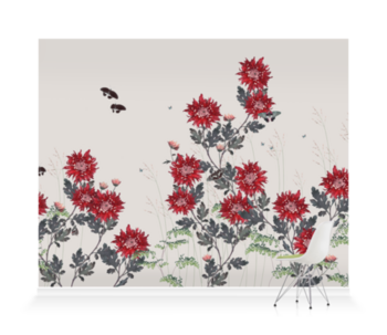 'Chrysanthemum - Flame' Wallpaper Mural