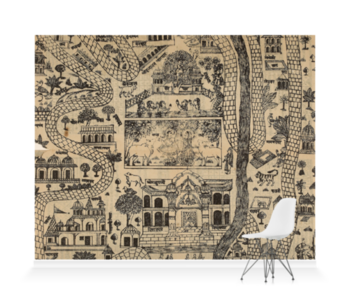'Pilgrim Map of Mathura' Wallpaper Mural
