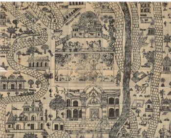 'Pilgrim Map of Mathura' Ceramic Tile Mural