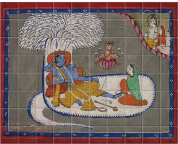 'Vishnu Reclining on the Serpent Shesha' Ceramic Tile Mural