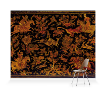'Writing Cabinet Decorated with Hunting Scenes' Wallpaper Mural