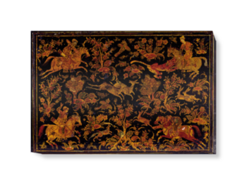 'Writing Cabinet Decorated with Hunting Scenes' Canvas Wall Art
