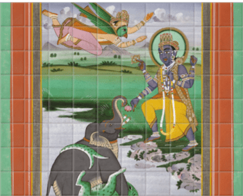 'Krishna and the Elephant' Ceramic Tile Mural