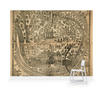 'Pilgrim Map of Varanasi (Benares)' Wallpaper Mural
