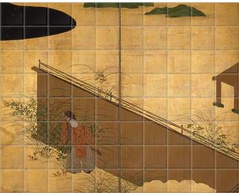 'One of two 6-fold screens - Tales of Ise' Ceramic Tile Mural