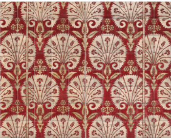 'Ottoman velvet with carnations' Ceramic Tile Mural