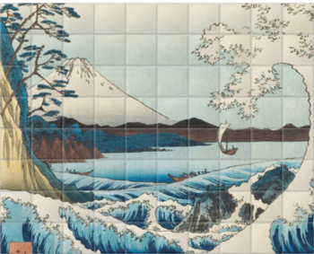 'The Sea at Satta in Suruga' Ceramic Tile Mural