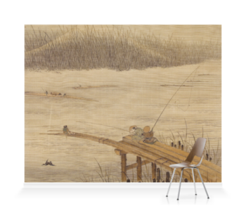'Fisherman on a Pier' Wallpaper Mural
