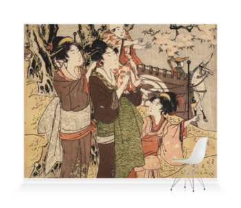 'Ladies and Children Watching Archery' Wallpaper Mural