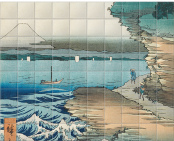 'The Coast at Hota In Awa Province' Ceramic Tile Mural