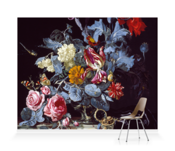 'A Vase of Flowers with a Watch' Wallpaper Mural