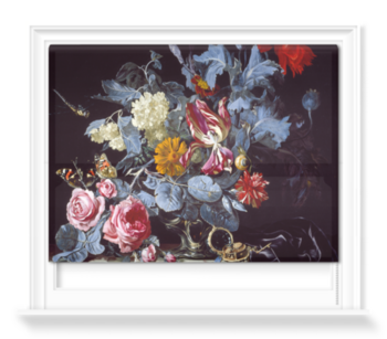 'A Vase of Flowers with a Watch' Roller Blind