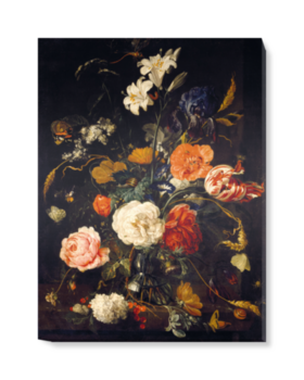'A Vase of Flowers with Berries and Insects' Canvas Wall Art