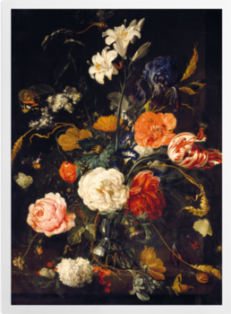 A Vase of Flowers with Berries and Insects