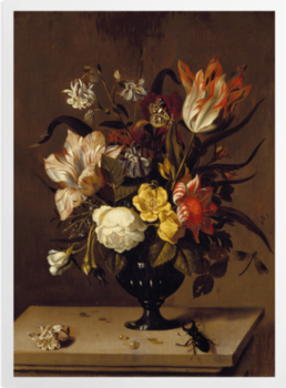A Vase of Flowers with a Beetle