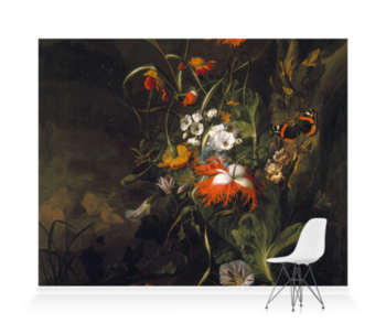 'A 'Forest Floor' Still Life of Flowers' Wallpaper Mural