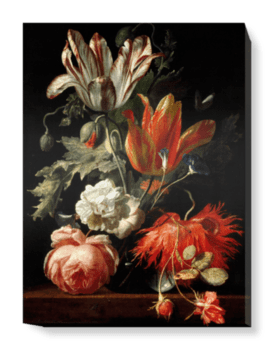 'A Vase of Flowers on a Table' Canvas Wall Art
