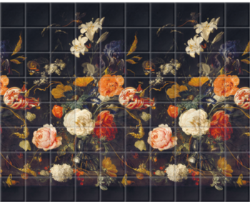 'De Heem Floral Bouquet Scenic Midnight' Ceramic tile murals