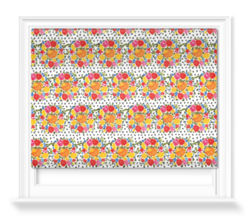 'Orange and Flowers' Roller Blind