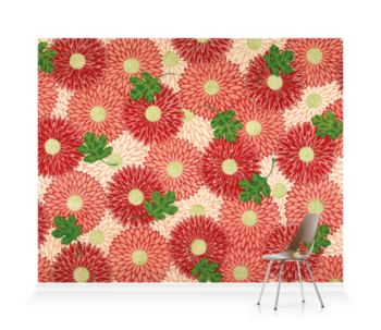 'Red floral & green foliage' Wallpaper Mural